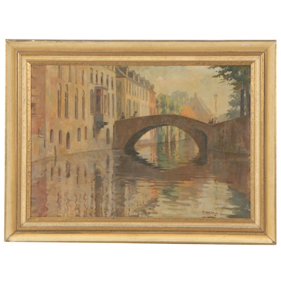 Early 20th Century Canal Scene Oil Painting