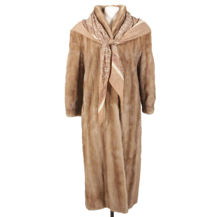 Mink Fur Coat from Jones Furs with Scarf, Vintage