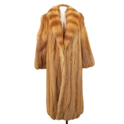 Red Fox Fur Full Pelt Coat with Shawl Collar from Abravanel Furs