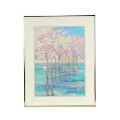 Haga Gouache Painting of Trees in Bloom