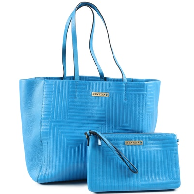 Saturday by Kate Spade Blue Leather Tote and Wristlet