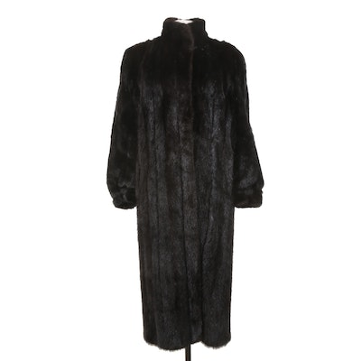 Black Mink Fur Coat with High Collar