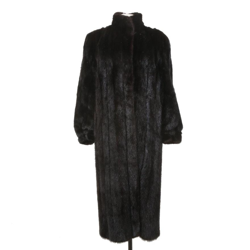 Black Mink Fur Coat with High Collar