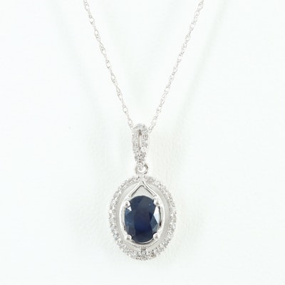 10K White Gold Sapphire and Diamond Necklace