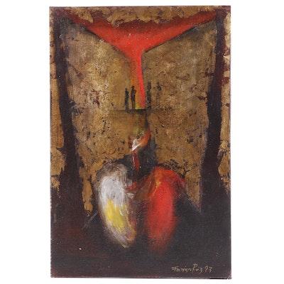 """Francisco Ruiz Embellished Oil Painting """"Los Espejos de America"""""""
