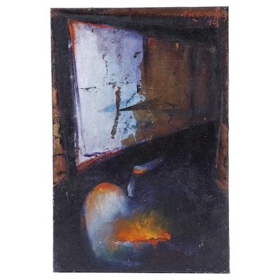 """Francisco Ruiz Oil Painting """"El Origen de la Tentacia,"""" 1993"""