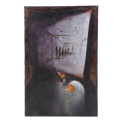 """Francisco Ruiz Oil Painting """"El Origen de la Tentacion"""""""