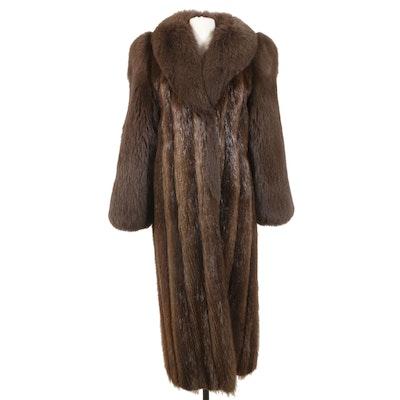 Long Hair Beaver and Fox Fur Coat from Alan Furs