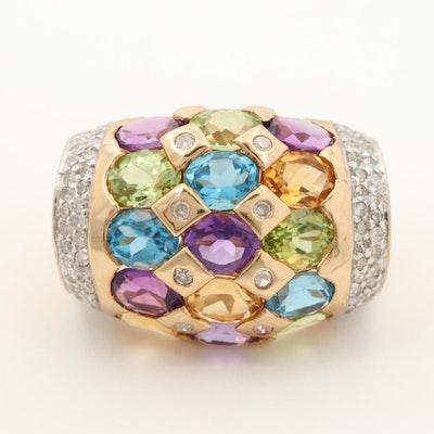 14K Yellow Gold Amethyst, Peridot, Diamond and Gemstone Ring