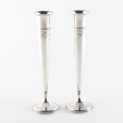 Webster Company Weighted Sterling Silver Bud Vases