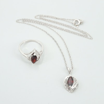 Sterling Silver Garnet Ring and Necklace Set