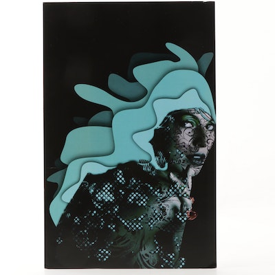 "Offset Lithograph ""Aqua Queen with Amber Ring"""
