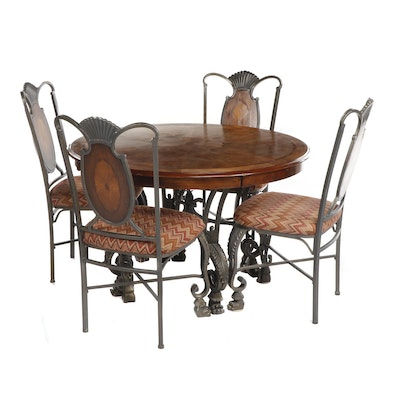 Contemporary Ashley Furniture Transitional Dining Table with Four Chairs