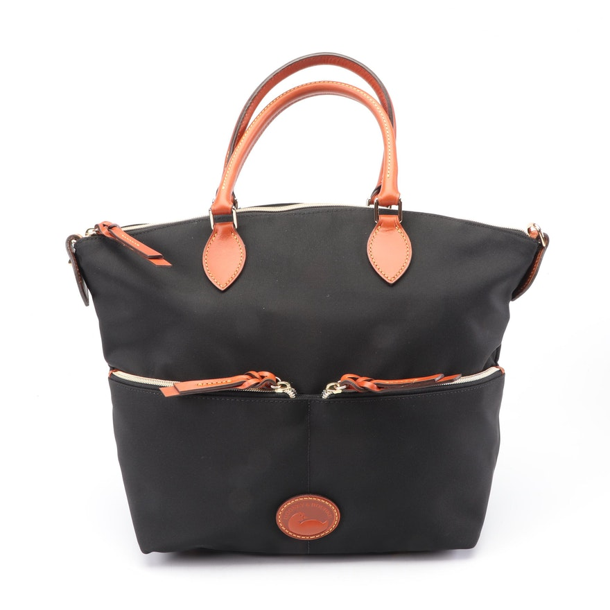 Dooney & Bourke Black Nylon Satchel Trimmed in Tan Leather