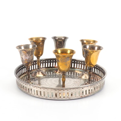 Indian Silver Plated Tray and Cordial Glasses