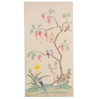 Chelsea House Inc. Chinoiserie Watercolor Painting with Birds