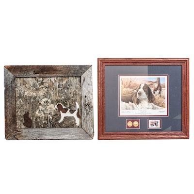 Springer Spaniel Mixed Media Assemblage and Offset Print