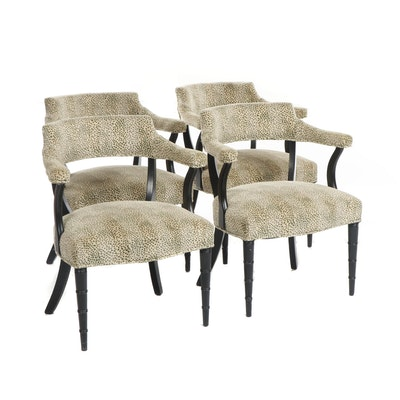 Contemporary Transitional Green Upholstered Chairs, Set of Four
