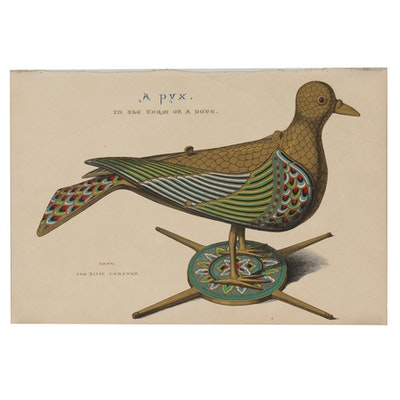 """Late 19th Century Hand-Colored Wood Engraving """"A Pyx. In the Form of a Dove."""""""