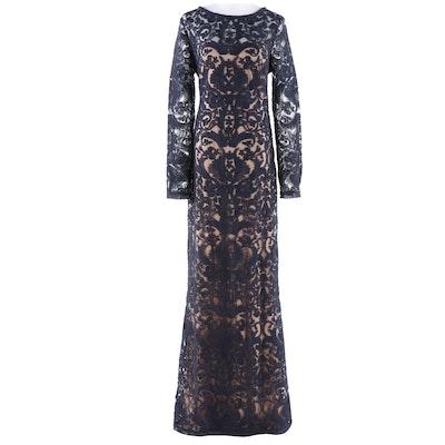 Tadashi Shoji Navy Corded Alençon Lace Evening Gown