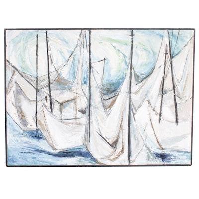 John R. Nartker Abstract Harbor Scene Oil Painting