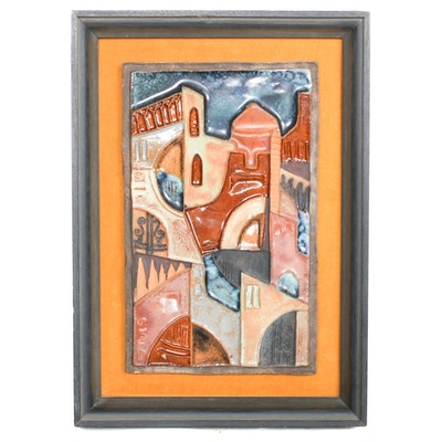 Ruth Faktor Ceramic Bas-Relief Cityscape