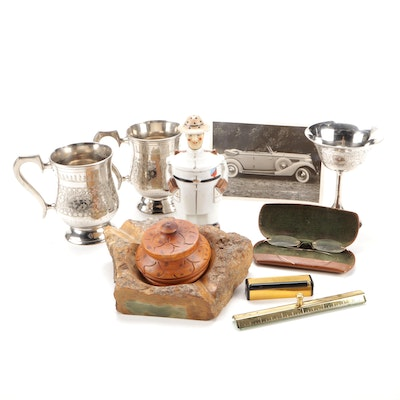 Green Stone Ashtray, Japanese Bough Pot, Indian Goblets and More
