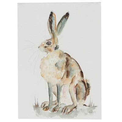 Ingrid Wheeler Hare Portrait Watercolor Painting