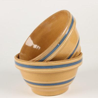 """Watt Ware """"Bak-Ezee"""" Yellow Ware Stoneware Mixing Bowls"""
