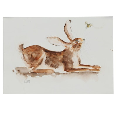 """Ingrid Wheeler Watercolor Painting """"Hare and Bee"""""""