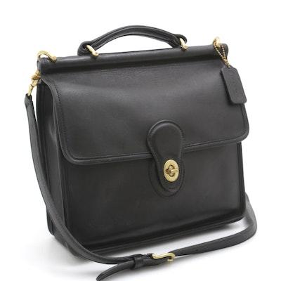 Coach Willis Black Leather Front Flap Turnlock Crossbody Bag, Vintage