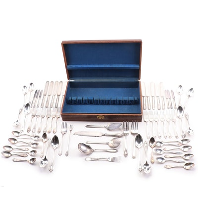 Rogers and Community Plate Mixed Silver Plate Flatware in Wooden Case