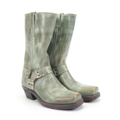 Women's Frye Leather Harness Boots in Sage