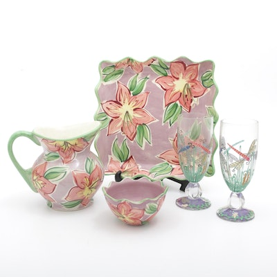 "Fioriware ""Peone Green"" Pitcher and Tray Set with Hand-Painted Glasses"