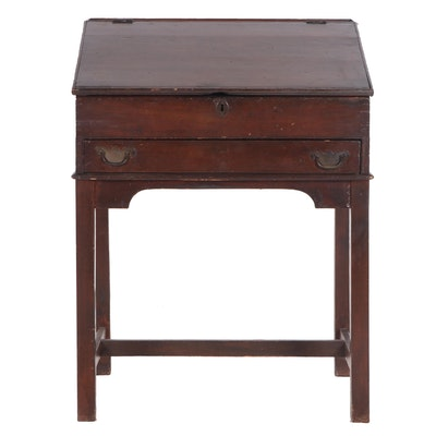 George III Period Cherry Slant Top Secretary Desk, circa 1800