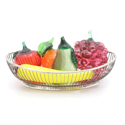 Italian Blown Glass Fruit with Basket