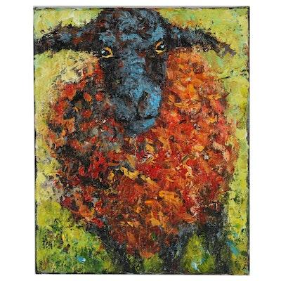 Elle Raines Sheep Portrait Acrylic Painting