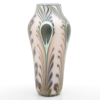 Charles Lotton Feather Pulled Art Glass Vase, 1988