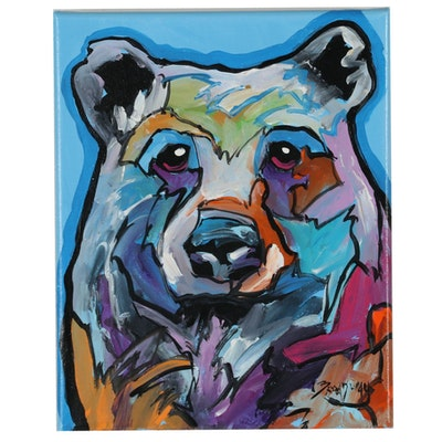 Marc Broadway Acrylic Painting Bear Portrait
