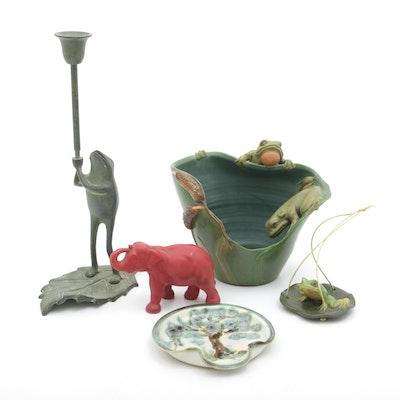 Ephraim Planter and Other Studio and Cast Decor with Candlestick