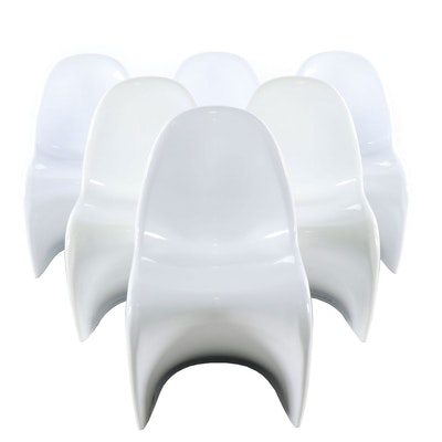 Panton Style Molded Plastic Chairs, Contemporary