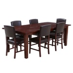 Pier 1 Leather Upholstered Chairs and Mahogany Wooden Table