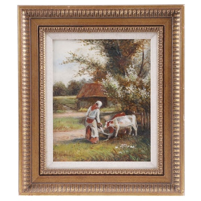 W. Hopkins Pastoral Oil Painting
