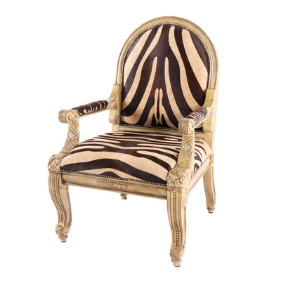 Zebra Print Pony Hair Upholstered Armchair With Nailhead Accents, Contemporary