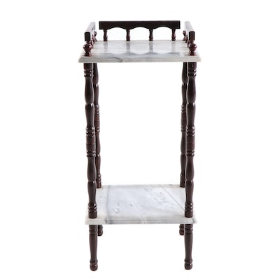 Mahogany and Carrara Marble Plant Stand, Contemporary