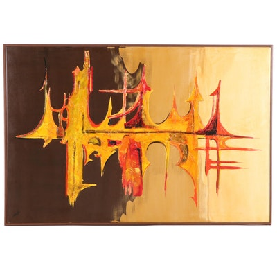 "Carlo of Hollywood Abstract Oil Painting ""Reflection"""