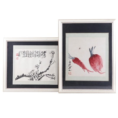 Japanese Watercolor Painting with Qi Baishi Copy Painting