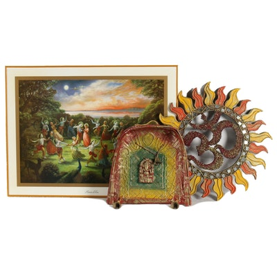 """Offset Lithograph """"Rasa Lila"""" and Other Dharmic Religious Art"""