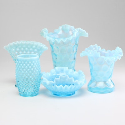 Fenton Blue Hobnail and Coin Dot Depression Glass Vases and Nut Dishes