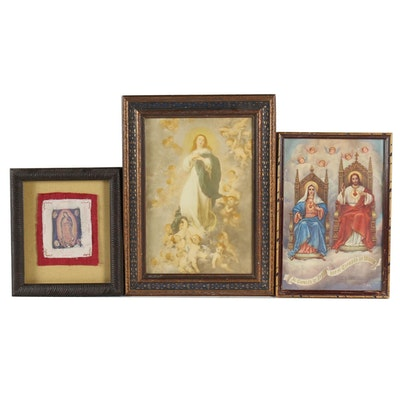 Religious Prints and Mixed Media Collage